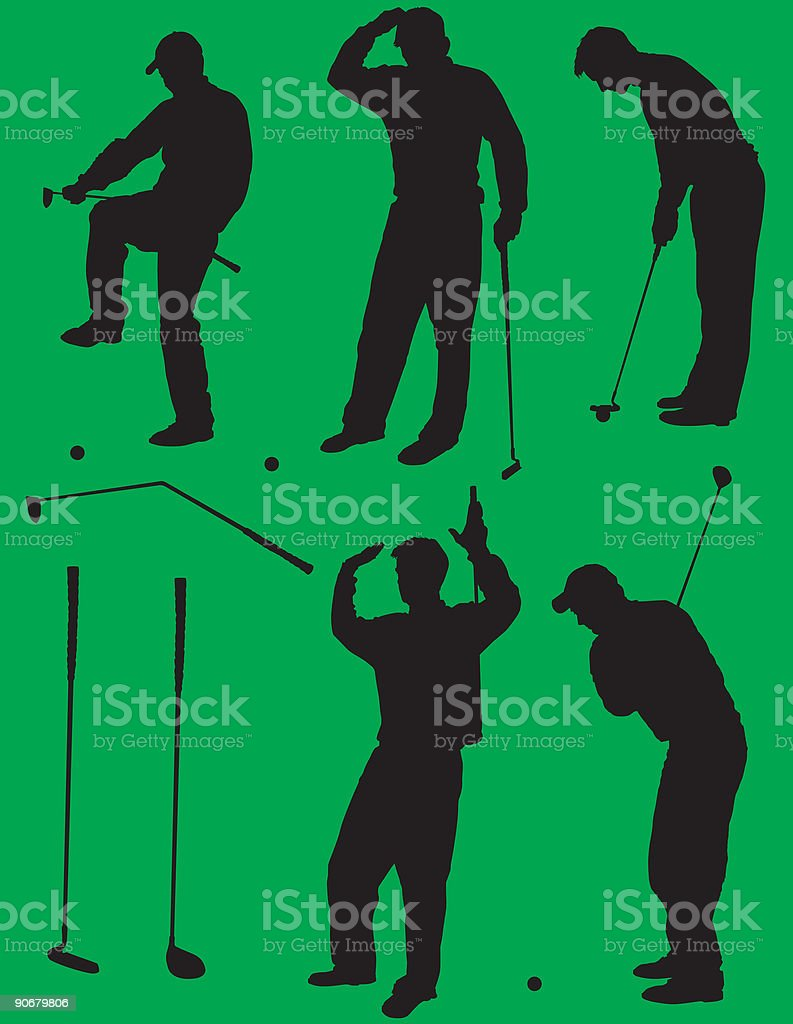 Golf Silhouettes 2, vector vector art illustration