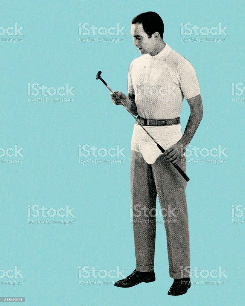 Golfer inspecting the club vector art illustration