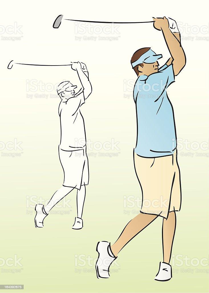 Golfer Swinging Club (Vector Illustration) vector art illustration
