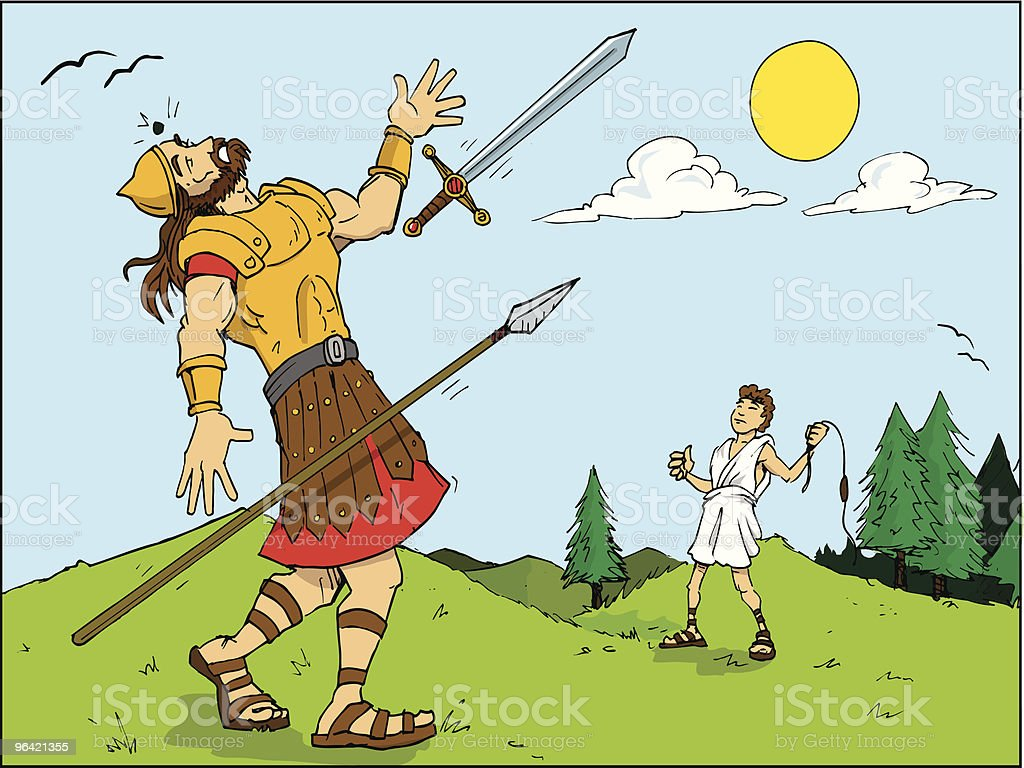 Goliath Hit with Rock from Triumphant David vector art illustration