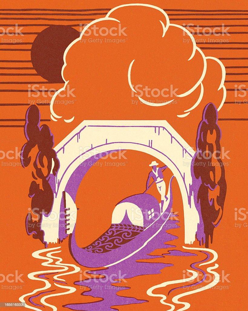 Gondola Going Under a Bridge vector art illustration