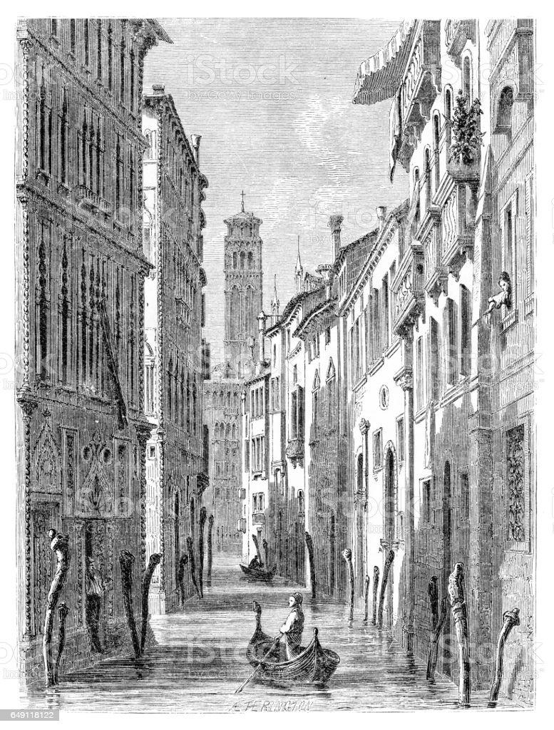 Gondola in Venice engraving 1875 vector art illustration