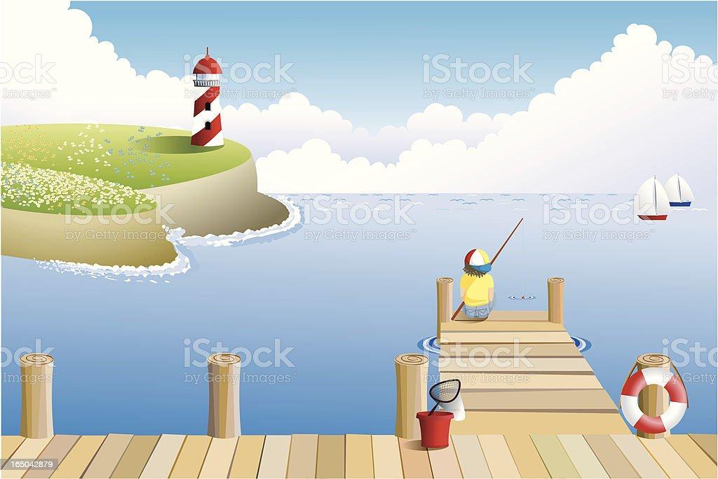Gone fishing vector art illustration