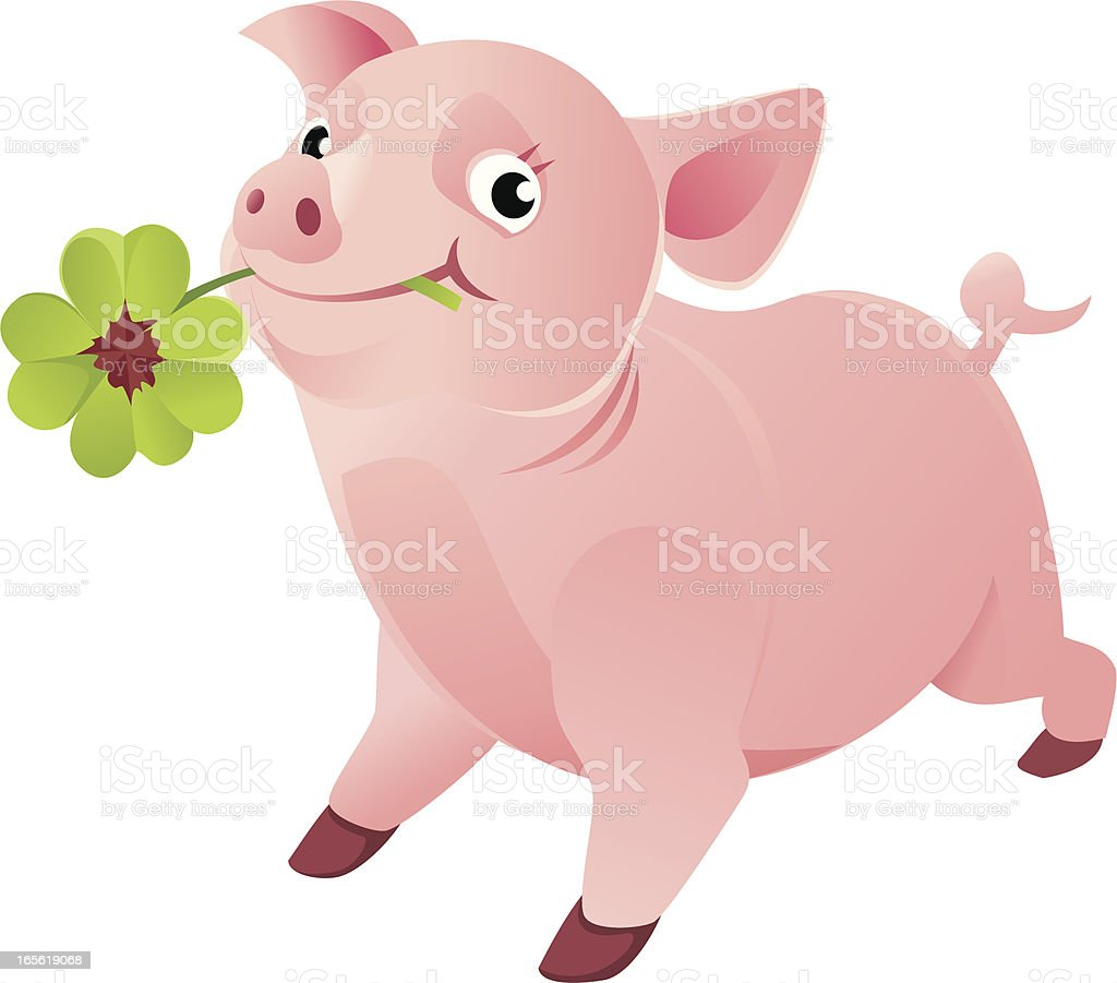 Good Luck Pig with a Four Leaf Clover royalty-free stock vector art
