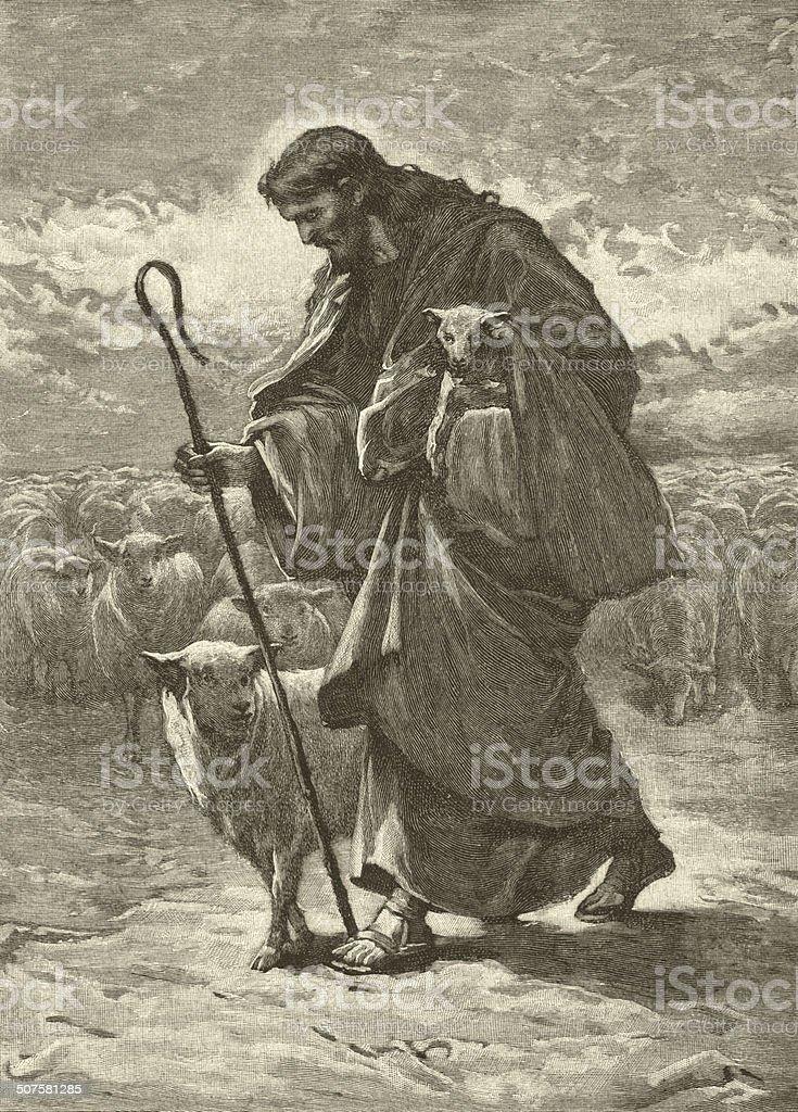 Good Shepherd vector art illustration