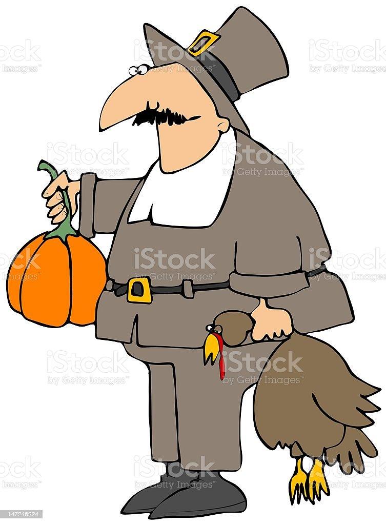 Goofy Pilgrim royalty-free stock vector art