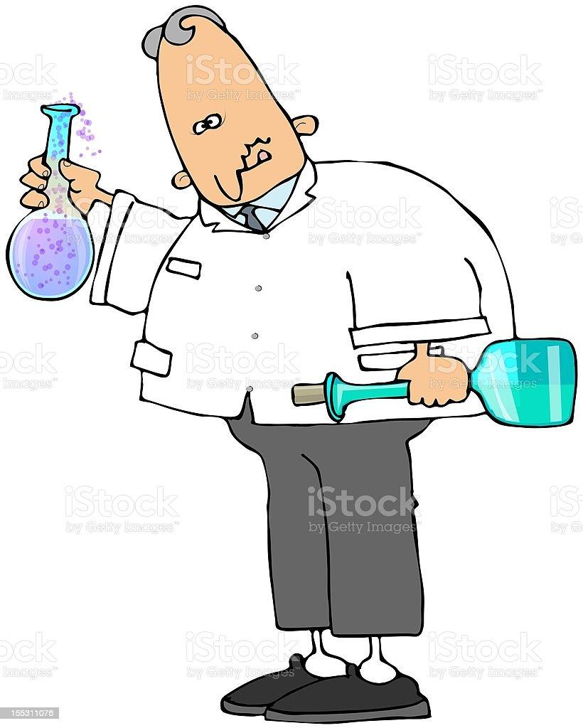 Goofy Scientist vector art illustration