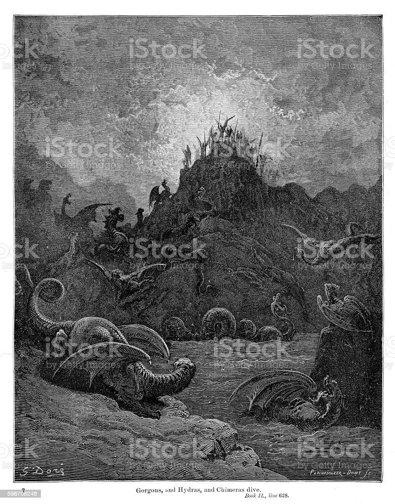 Gorgons Hydras Chimeras 1885 vector art illustration