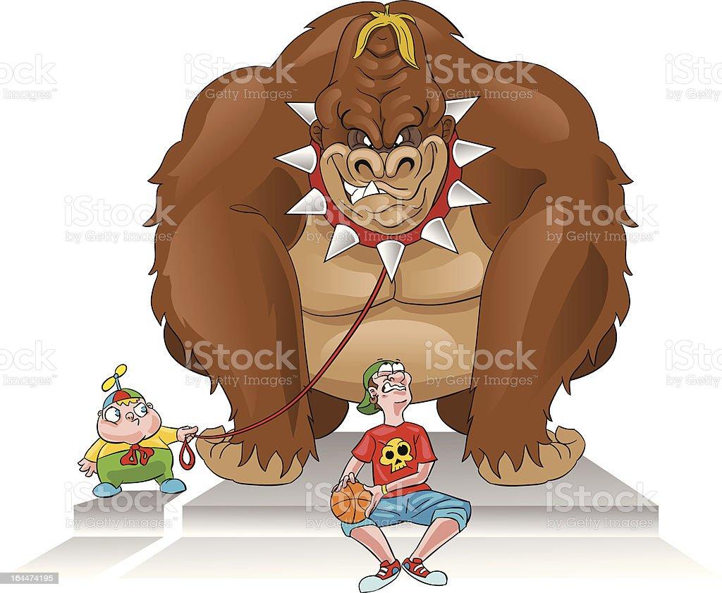 Gorilla bodyguard royalty-free stock vector art