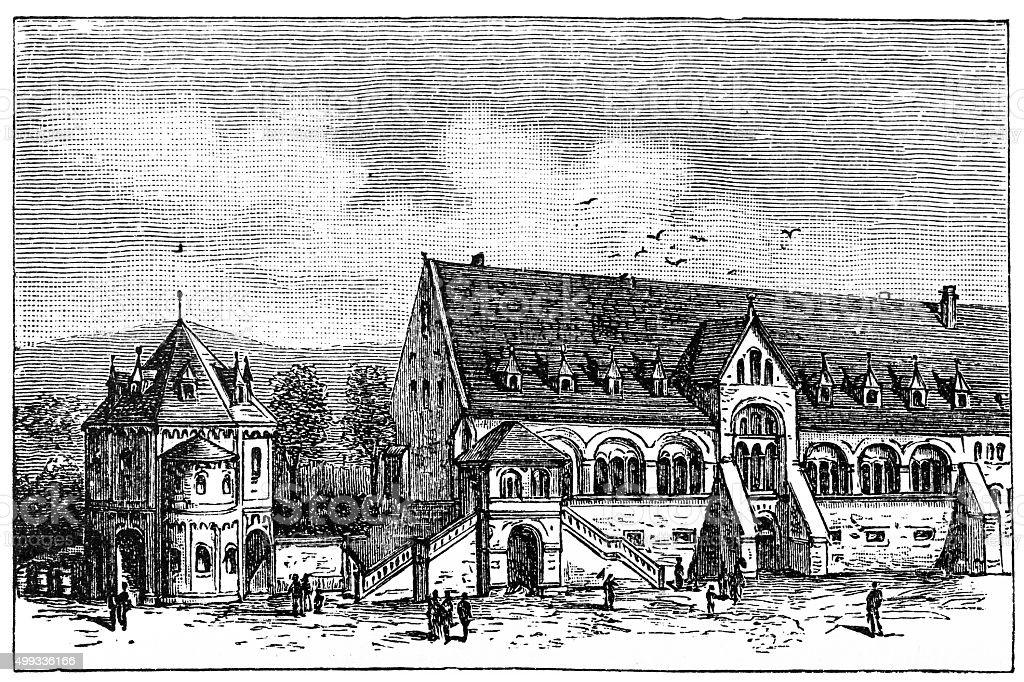 Goslar Kaiserpfalz vector art illustration