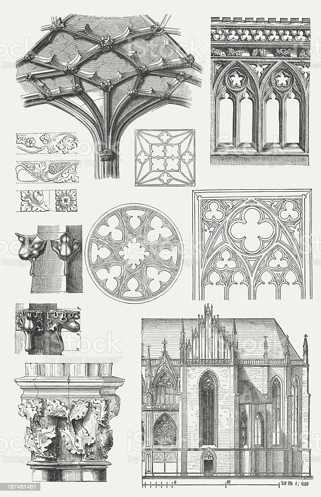 Gothic architecture elements, wood engravings, published in 1876. vector art illustration