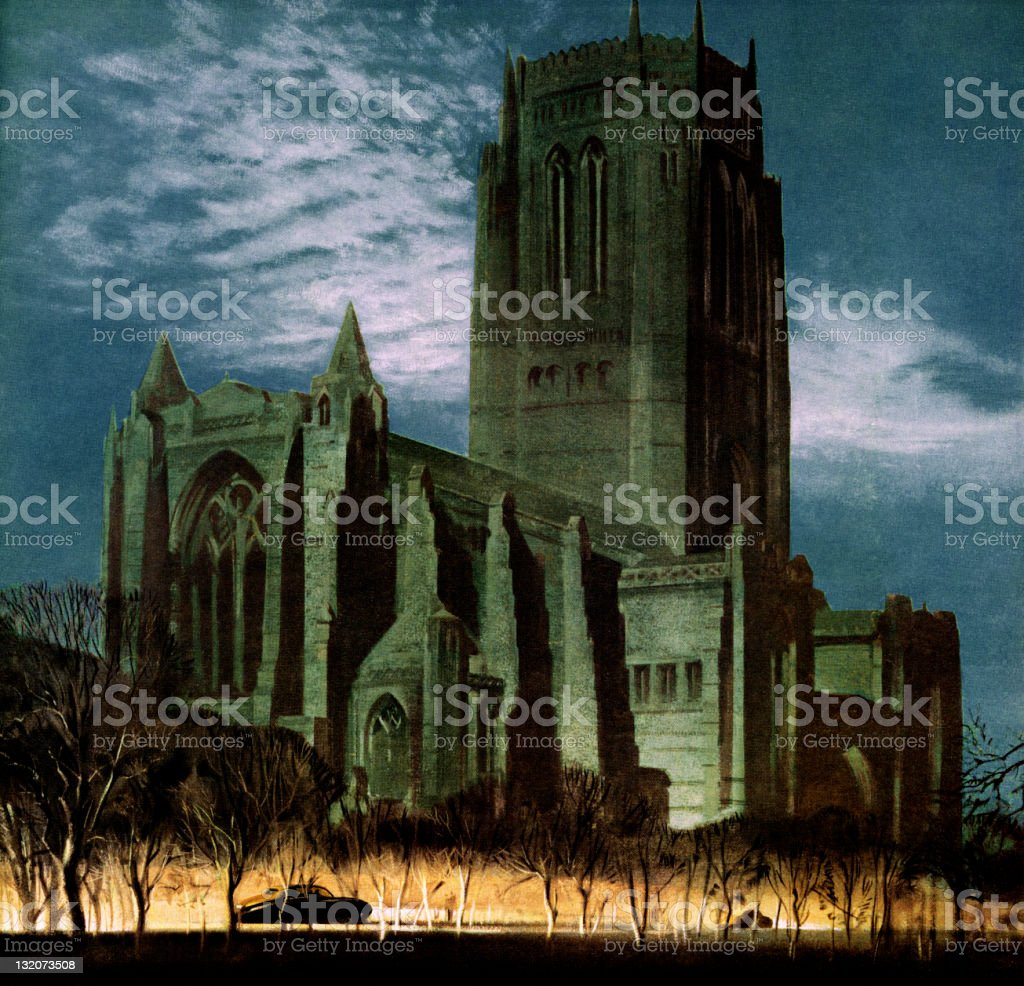 Gothic Cathedral Church royalty-free stock vector art
