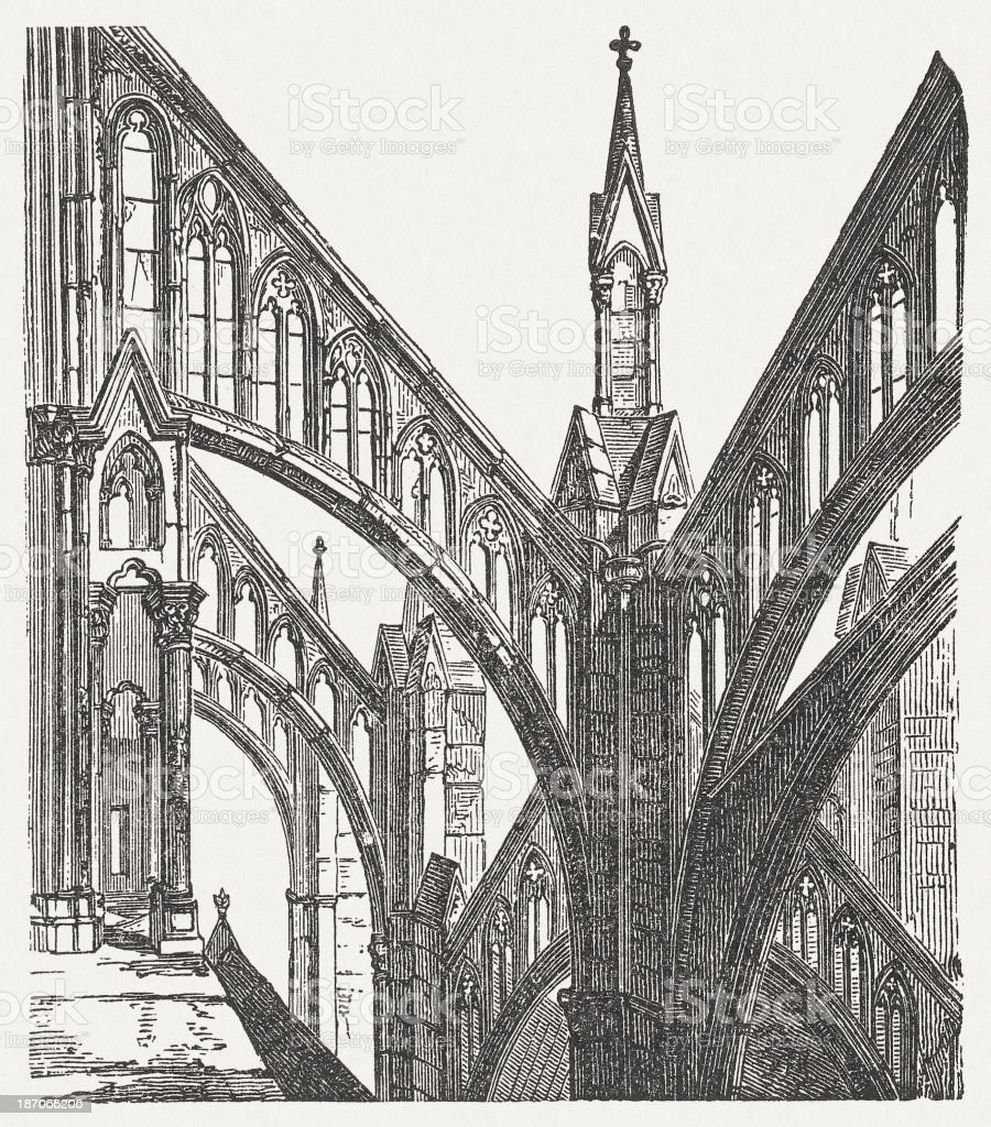 Gothic elements, Amiens Cathedral, France, wood engraving, published in 1876 vector art illustration