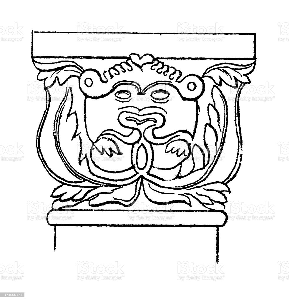 Gothic German Capital | Antique Architectural Illustrations royalty-free stock vector art