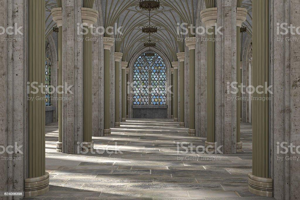 Gothic hall interior 3d illustration vector art illustration