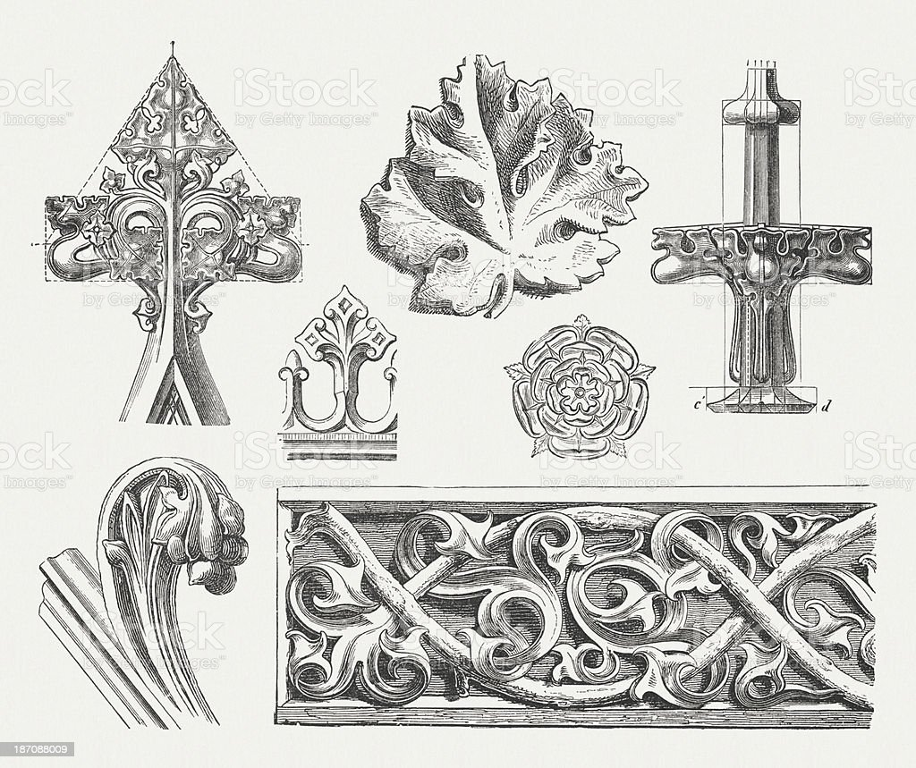 Gothic ornaments, wood engravings, published in 1876 vector art illustration