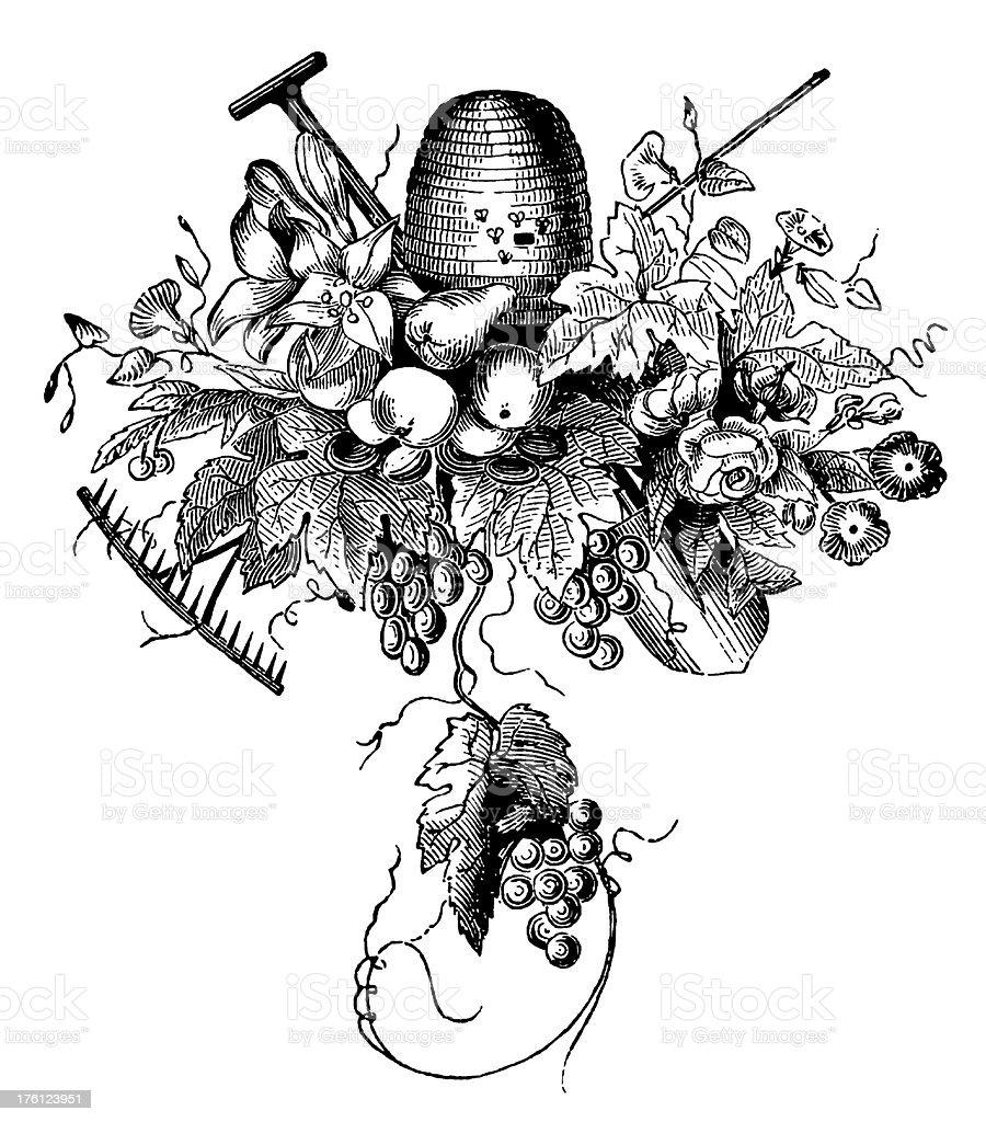 Gourmet Fleuron | Antique Food Illustrations royalty-free stock vector art
