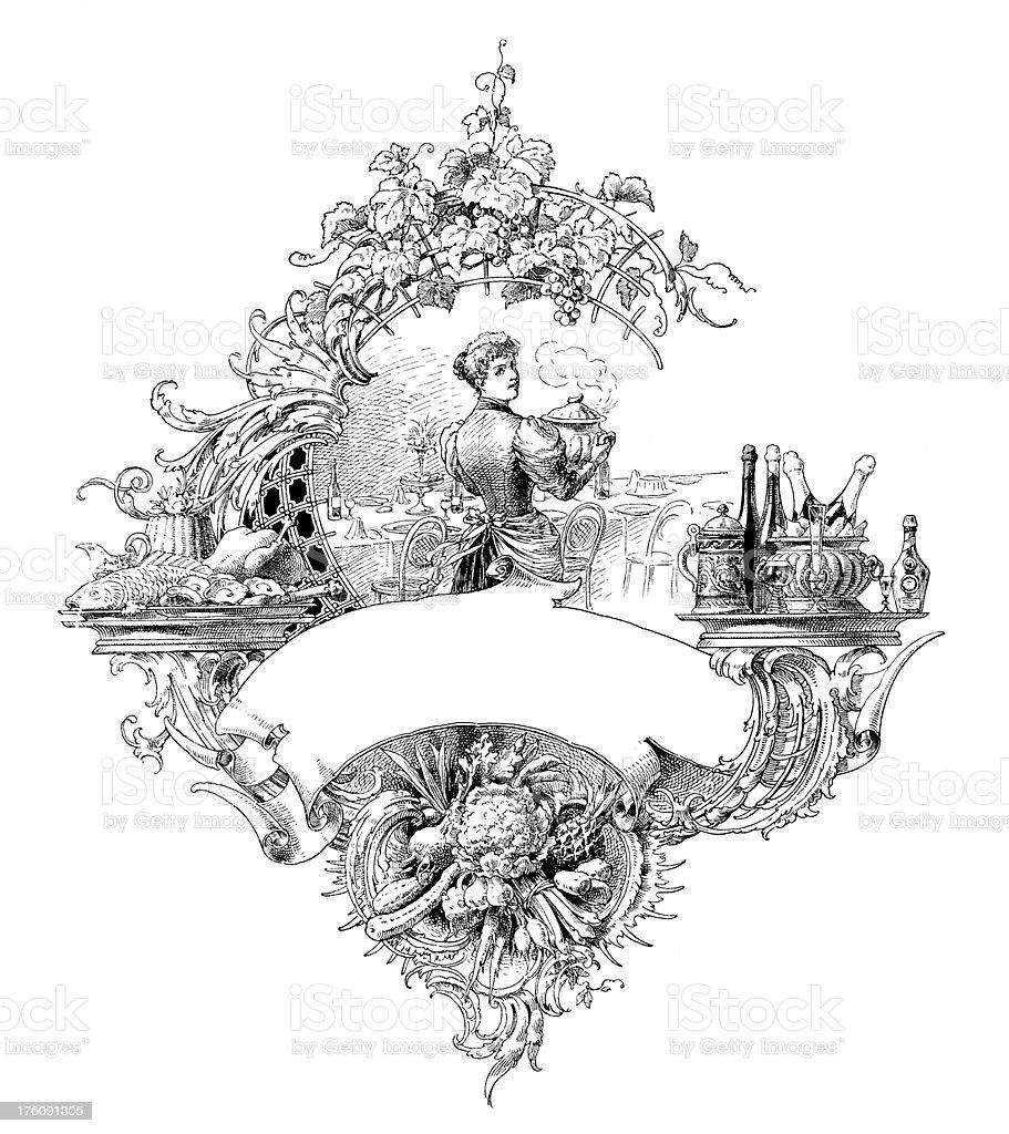 Gourmet frame   Antique Design Illustrations royalty-free stock vector art