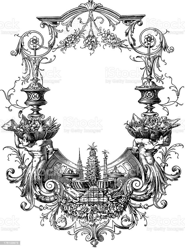 Gourmet frame | Antique Food Illustrations royalty-free stock vector art