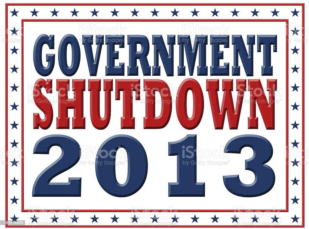 Government Shutdown 2013 vector art illustration