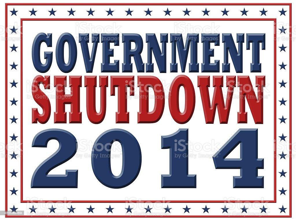 Government Shutdown 2014 vector art illustration