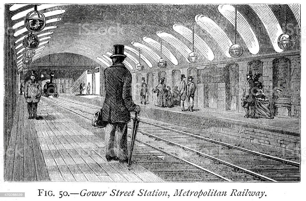 Gower Street Station royalty-free stock vector art