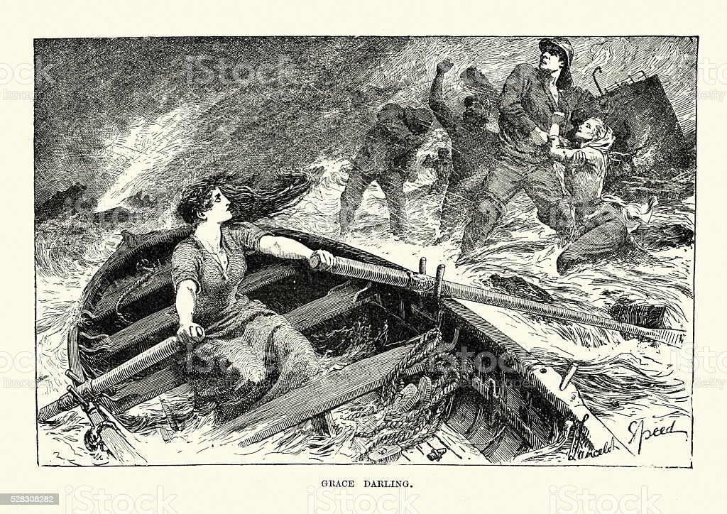 Grace Darling rescuing of survivors from the shipwreck vector art illustration