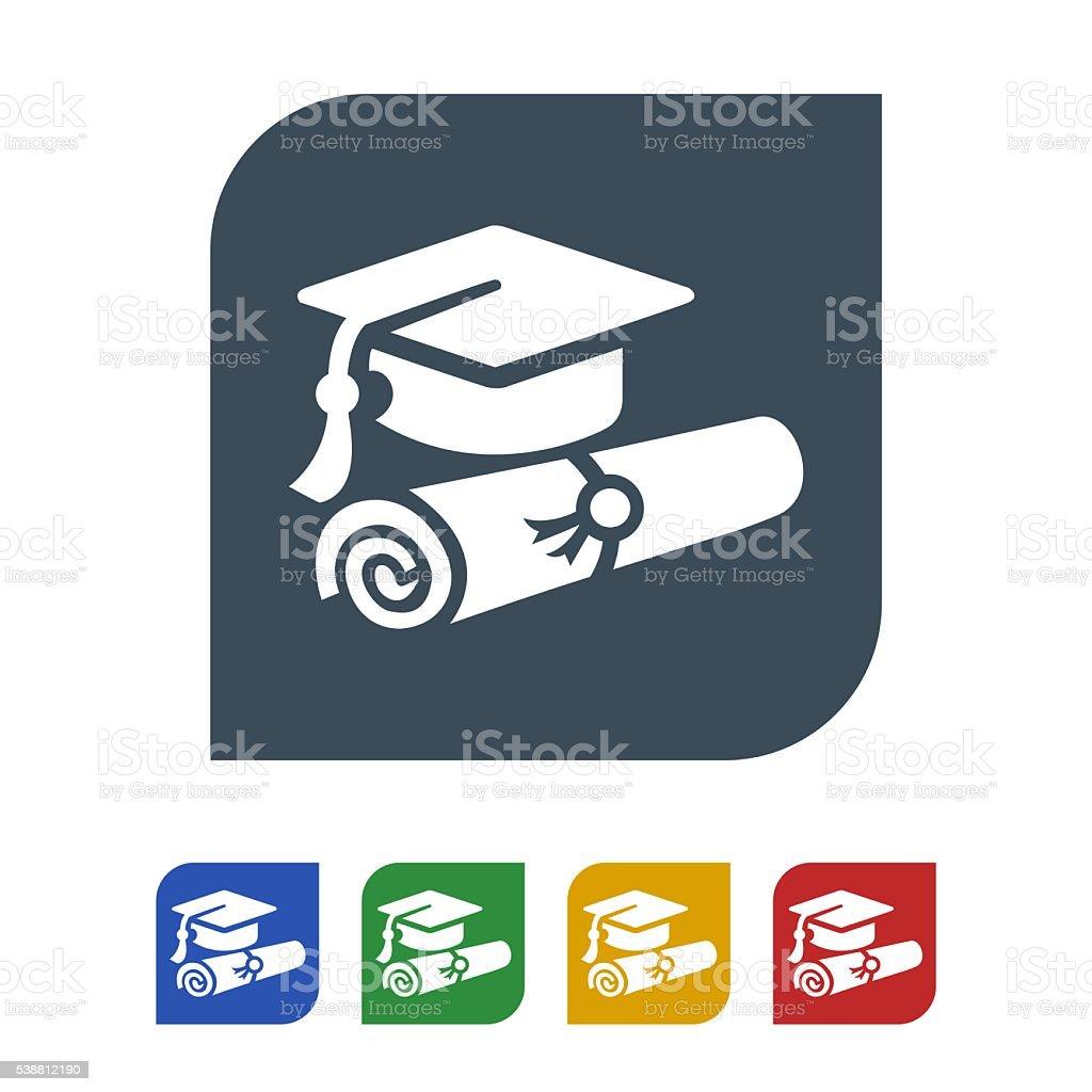graduate icon isolated on white background stock photo