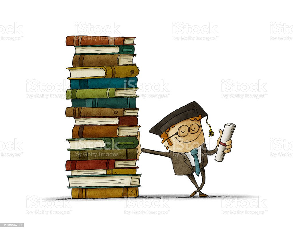 graduate leaning on a stack of books vector art illustration