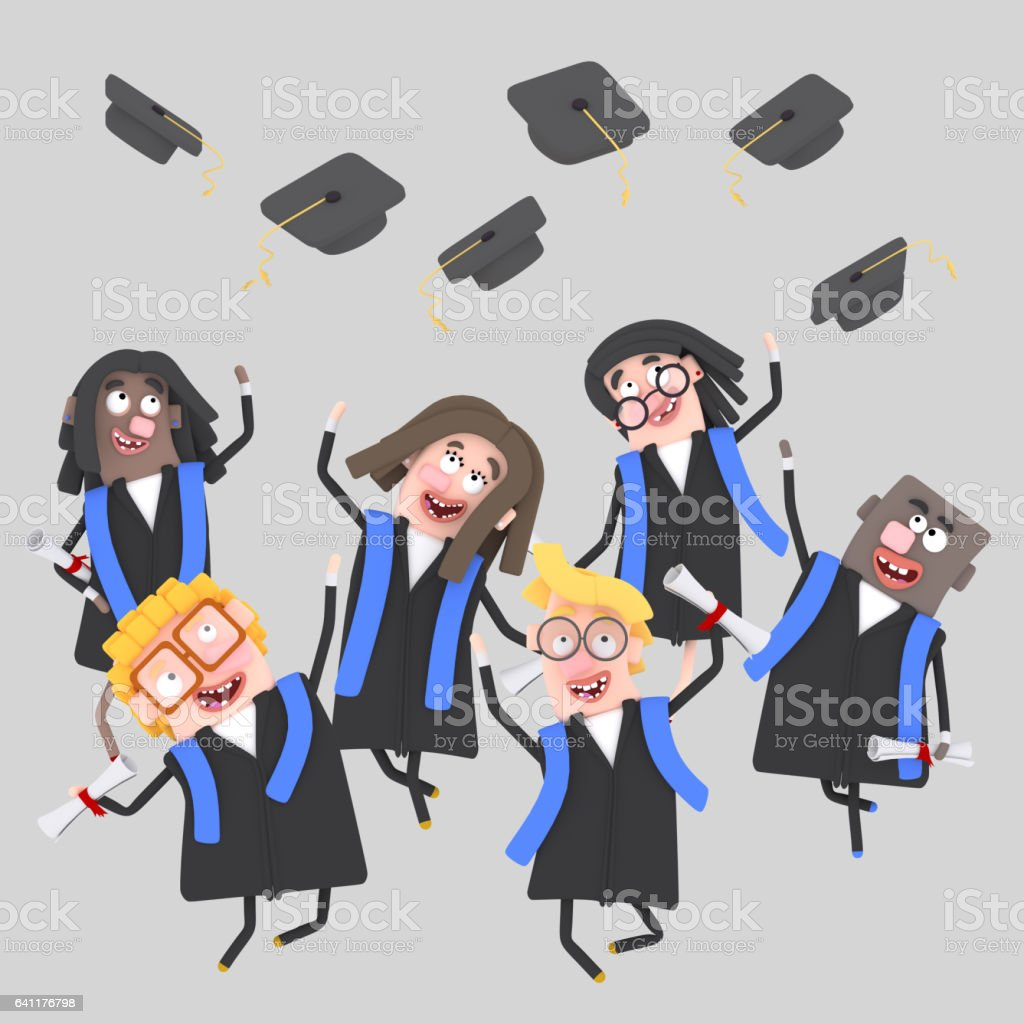 Graduate students jumping with their caps in the air vector art illustration