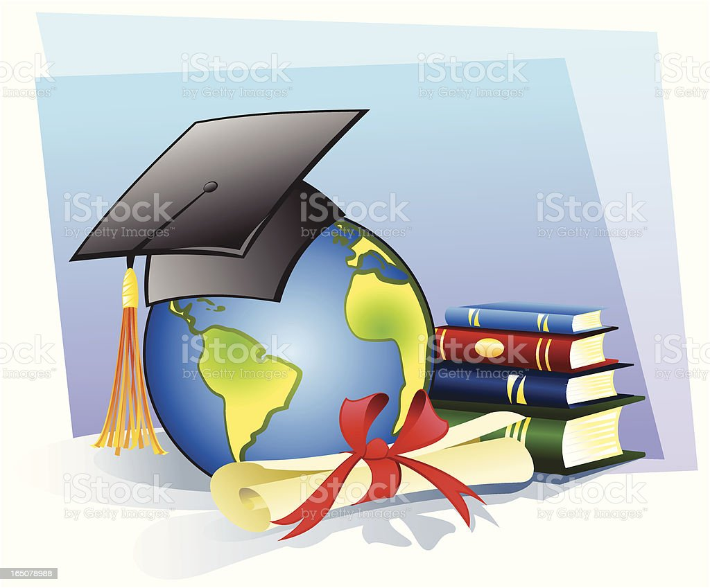 Graduate to conquer the world royalty-free stock vector art