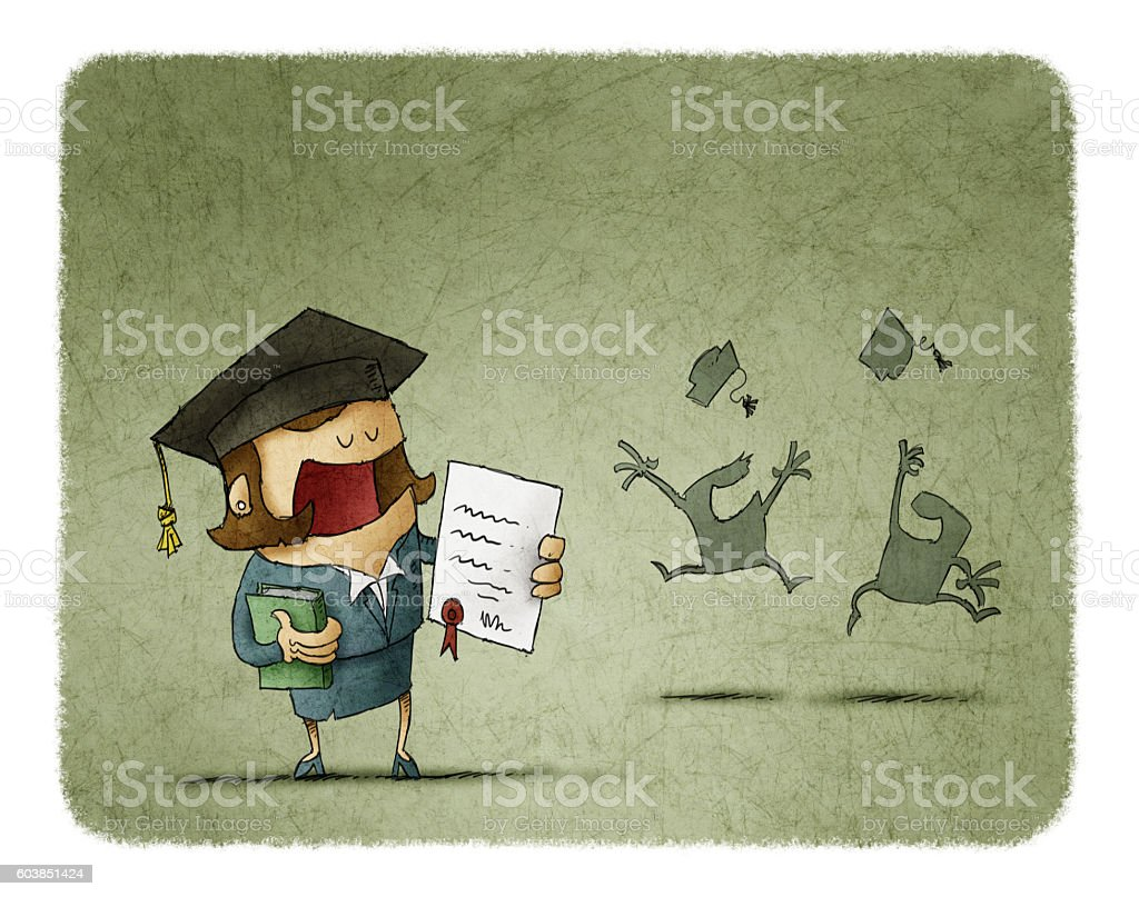Graduated student with diploma paper and book vector art illustration