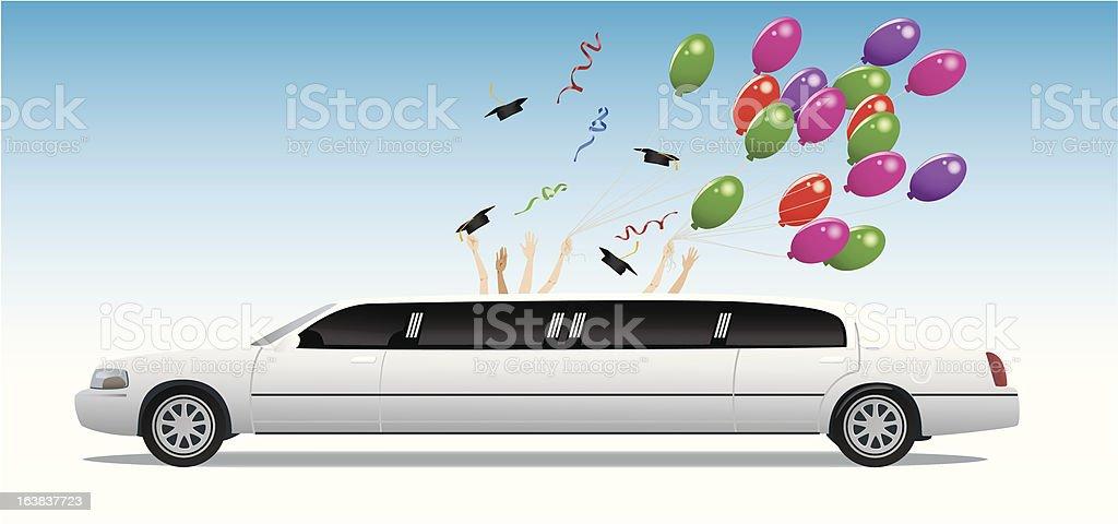 Graduation Celebration out of a Limousine vector art illustration