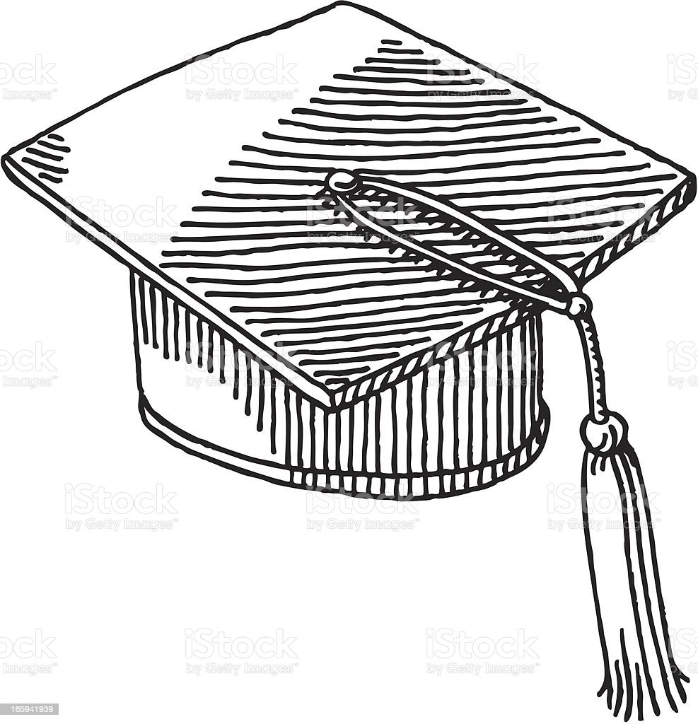 Graduation Hat Drawing vector art illustration