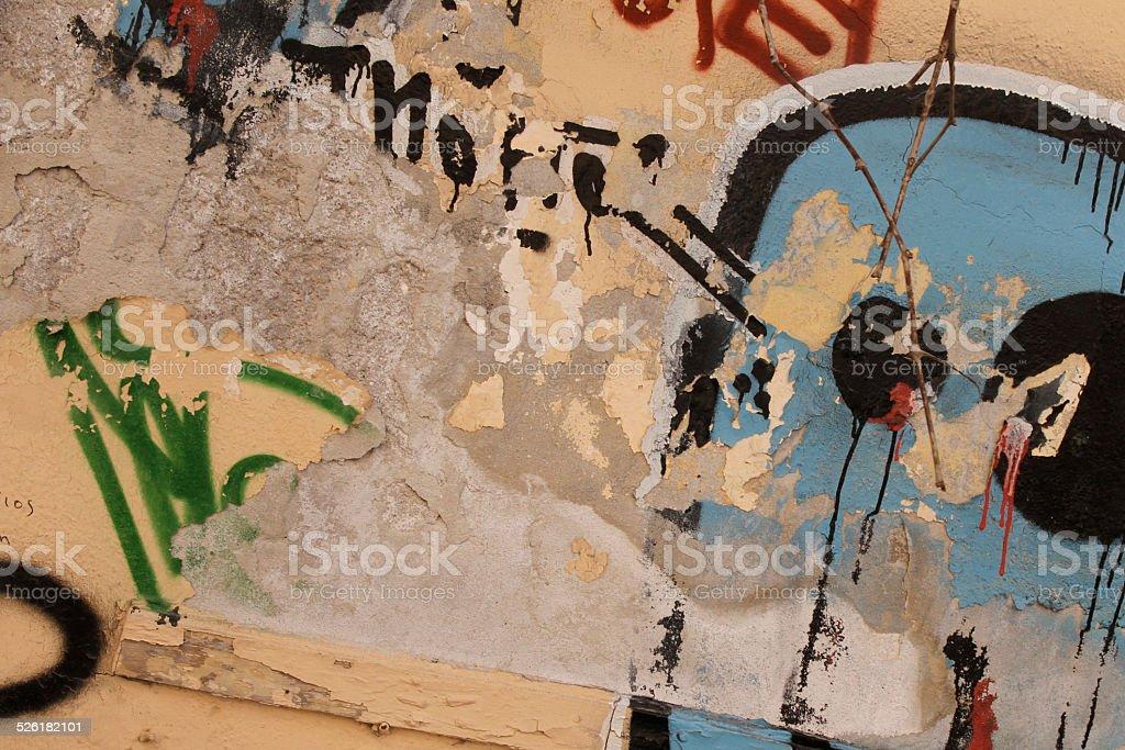 Graffiti covered wall vector art illustration