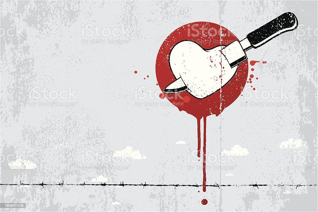 Graffiti stabbed heart vector art illustration