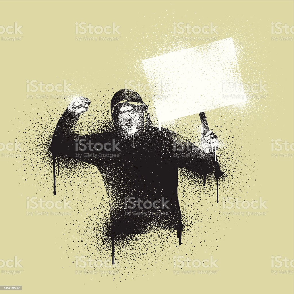 Graffiti Stencil Civil Disorder vector art illustration