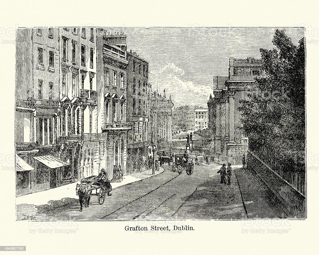 Grafton Street, Dublin, Ireland 1884 vector art illustration