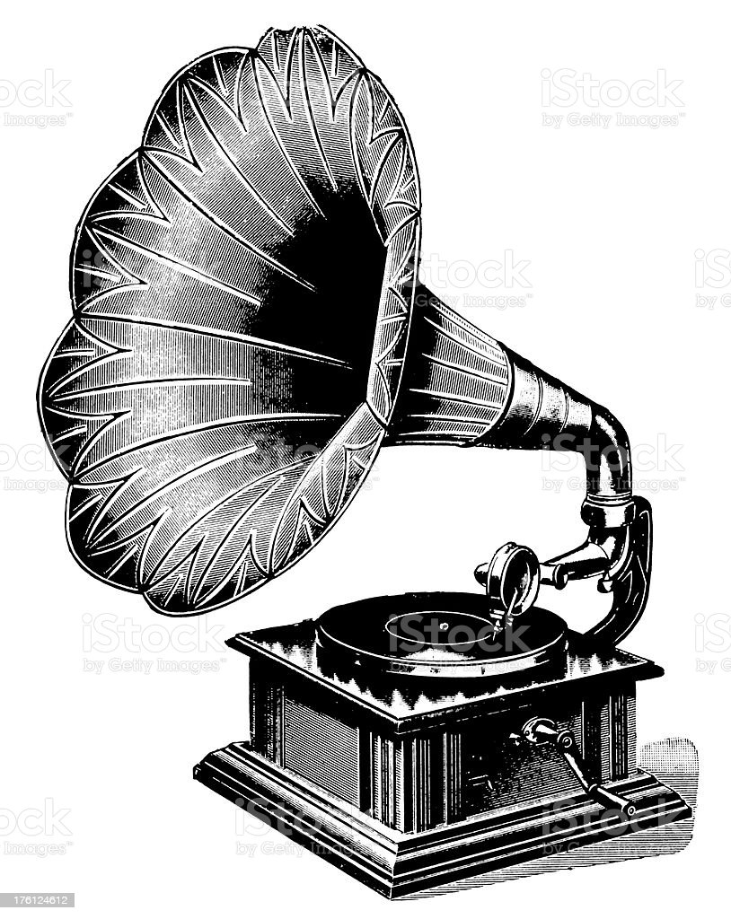 Gramophone | Antique Musical Illustrations royalty-free stock vector art