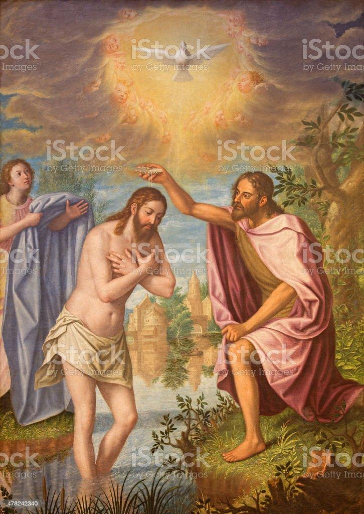 Granada - The Baptism of Christ painting vector art illustration