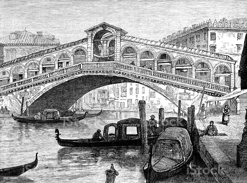 Grand Canal and Rialto, Venice vector art illustration