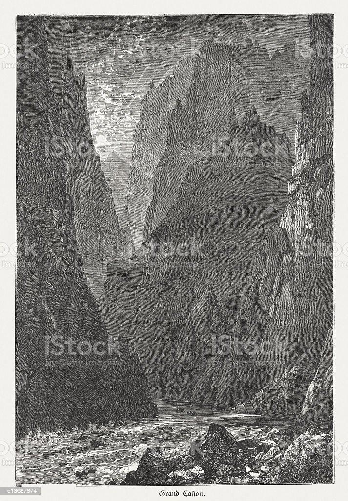 Grand Canyon, Arizona, USA, wood engraving, published in 1880 vector art illustration