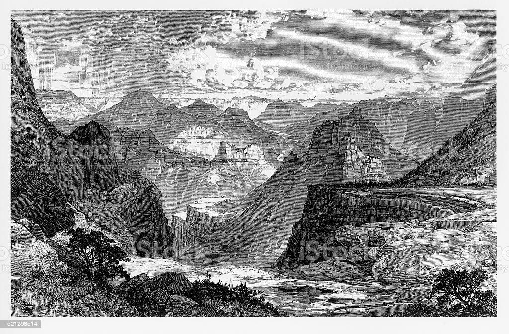 Grand Canyon in Colorado Victorian Engraving, 1875 vector art illustration