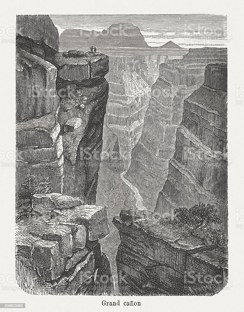 Grand Canyon of the Colorado river, published in 1882 vector art illustration