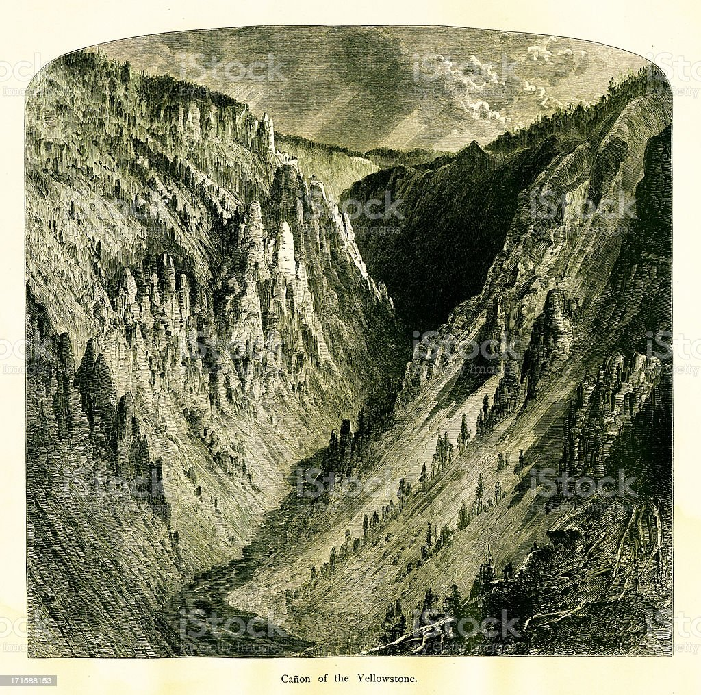 Grand Canyon of the Yellowstone, USA | Historic American Illustrations royalty-free stock vector art