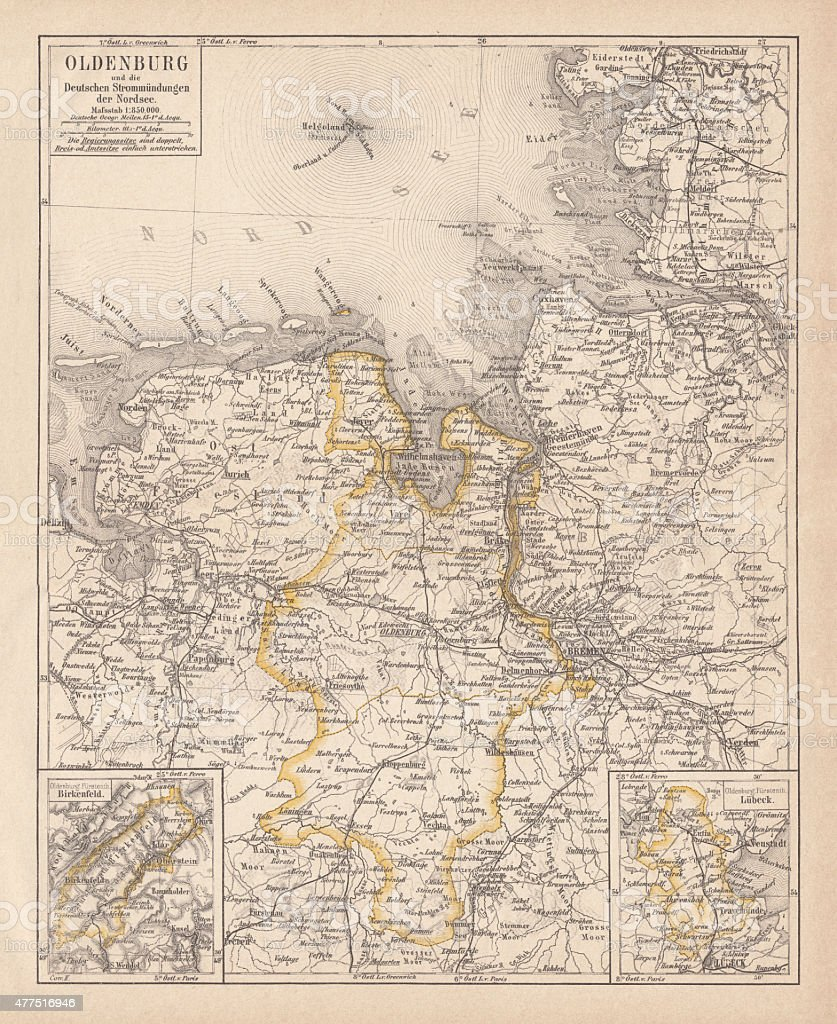 Grand Duchy of Oldenburg, litograph, published in 1877 vector art illustration