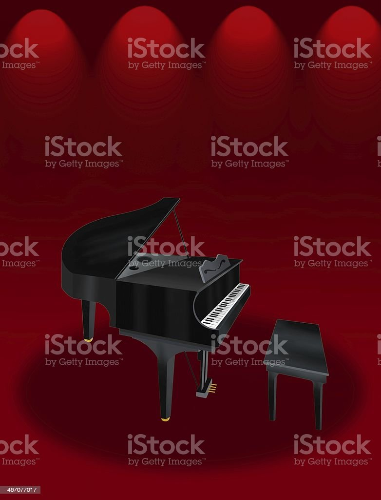 Grand Piano on Red Elegant Theater Stage vector art illustration
