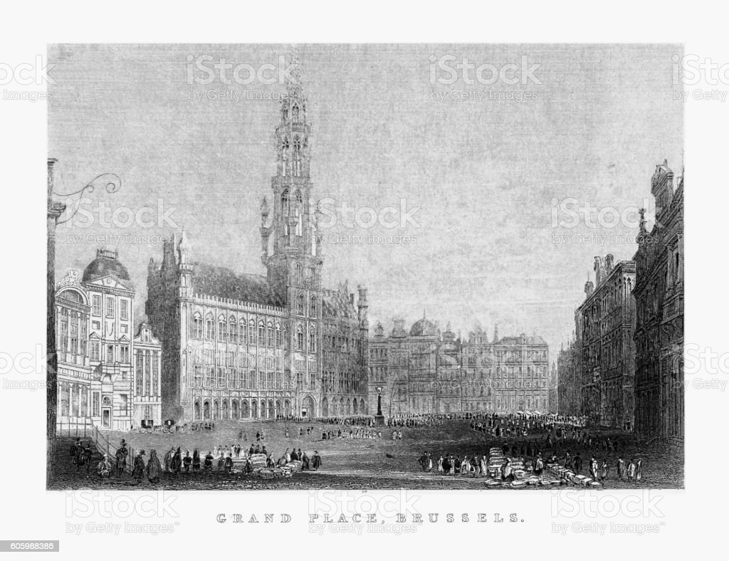 Grand Place, The Grand Place, in Brussels, Belgium, Circa 1887 vector art illustration