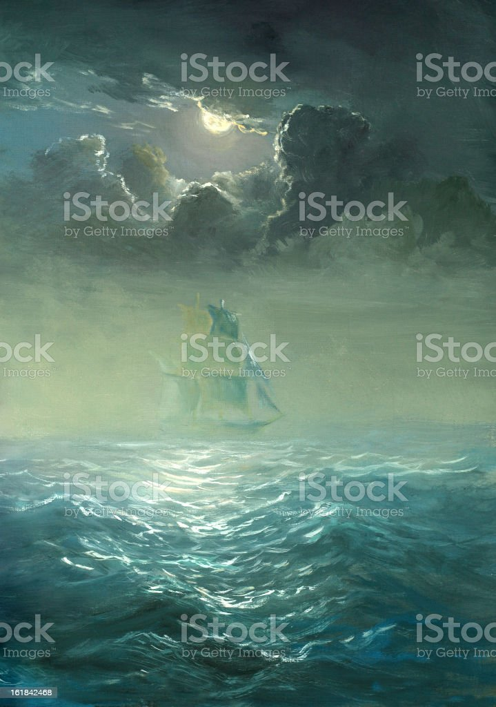Grand ship sailing on stormy waters vector art illustration