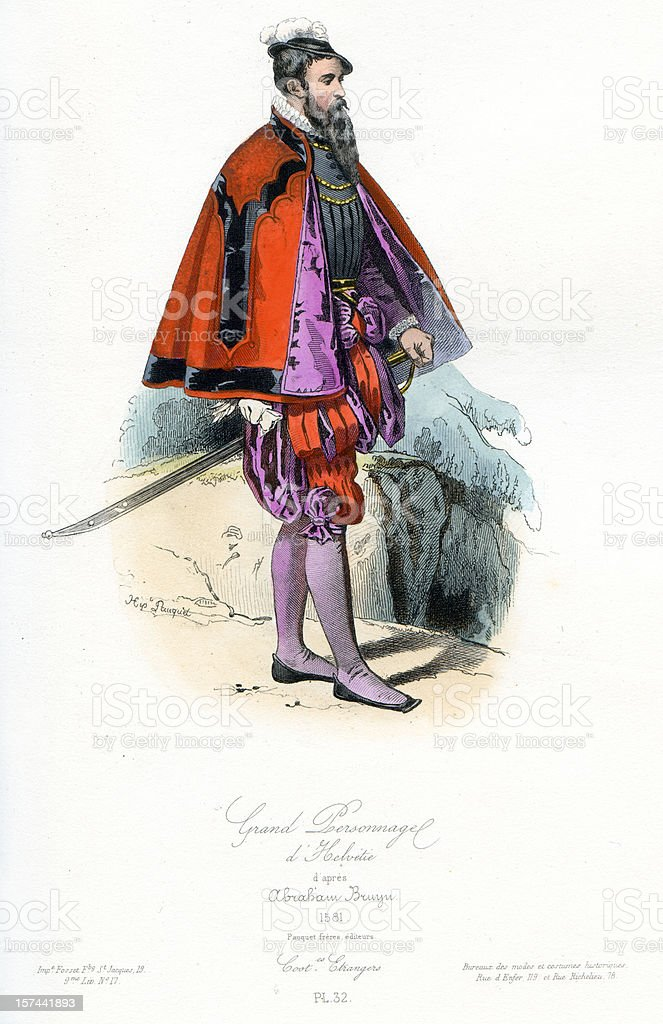 Grand Swiss Personage vector art illustration